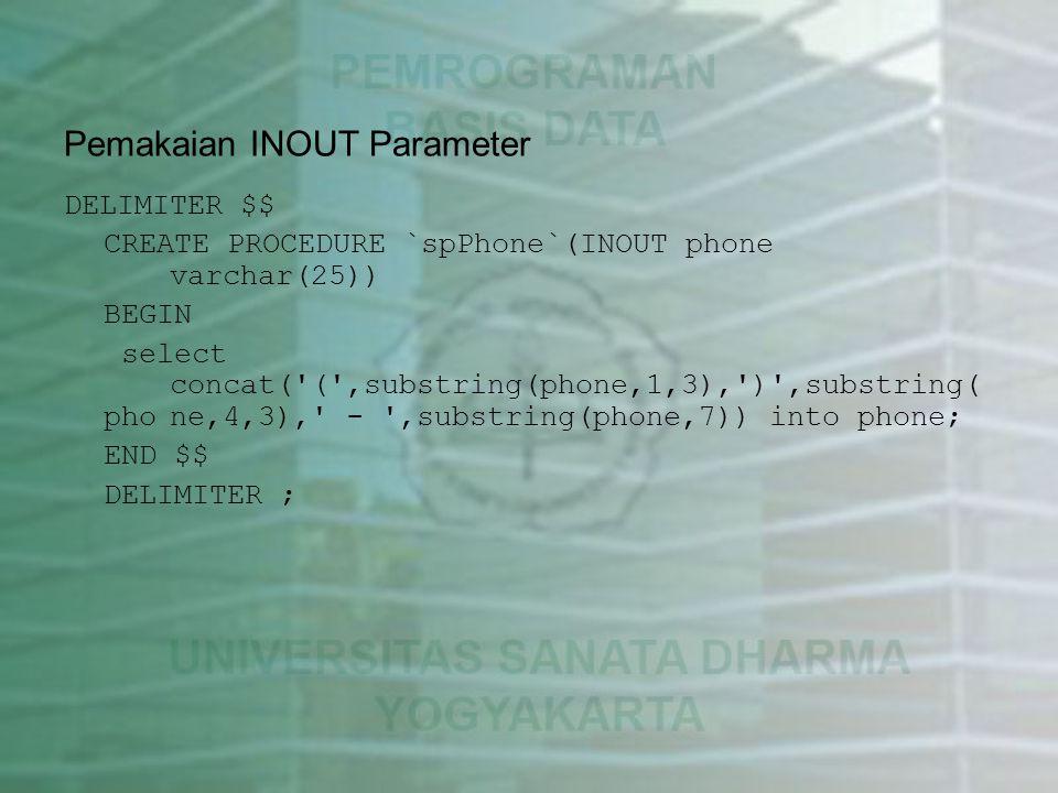 Pemakaian INOUT Parameter