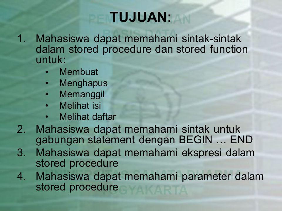 TUJUAN: Mahasiswa dapat memahami sintak-sintak dalam stored procedure dan stored function untuk: Membuat.