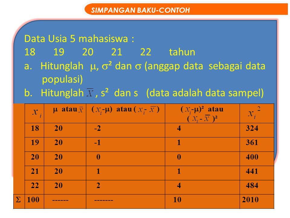 Hitunglah , ² dan  (anggap data sebagai data populasi)