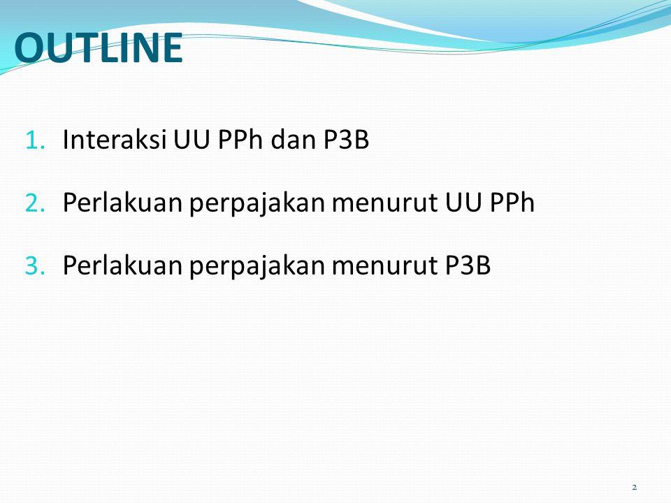 OUTLINE Interaksi UU PPh dan P3B Perlakuan perpajakan menurut UU PPh