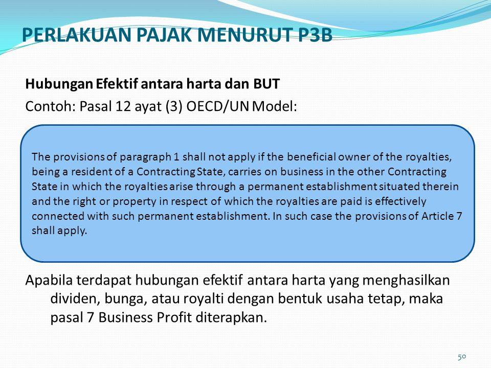 PERLAKUAN PAJAK MENURUT P3B