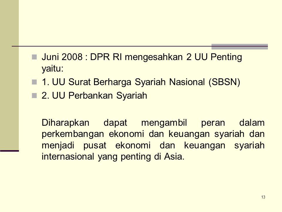 Juni 2008 : DPR RI mengesahkan 2 UU Penting yaitu: