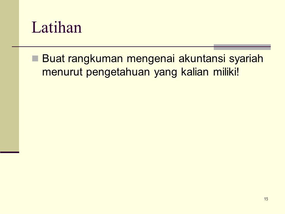 Latihan Buat rangkuman mengenai akuntansi syariah menurut pengetahuan yang kalian miliki!
