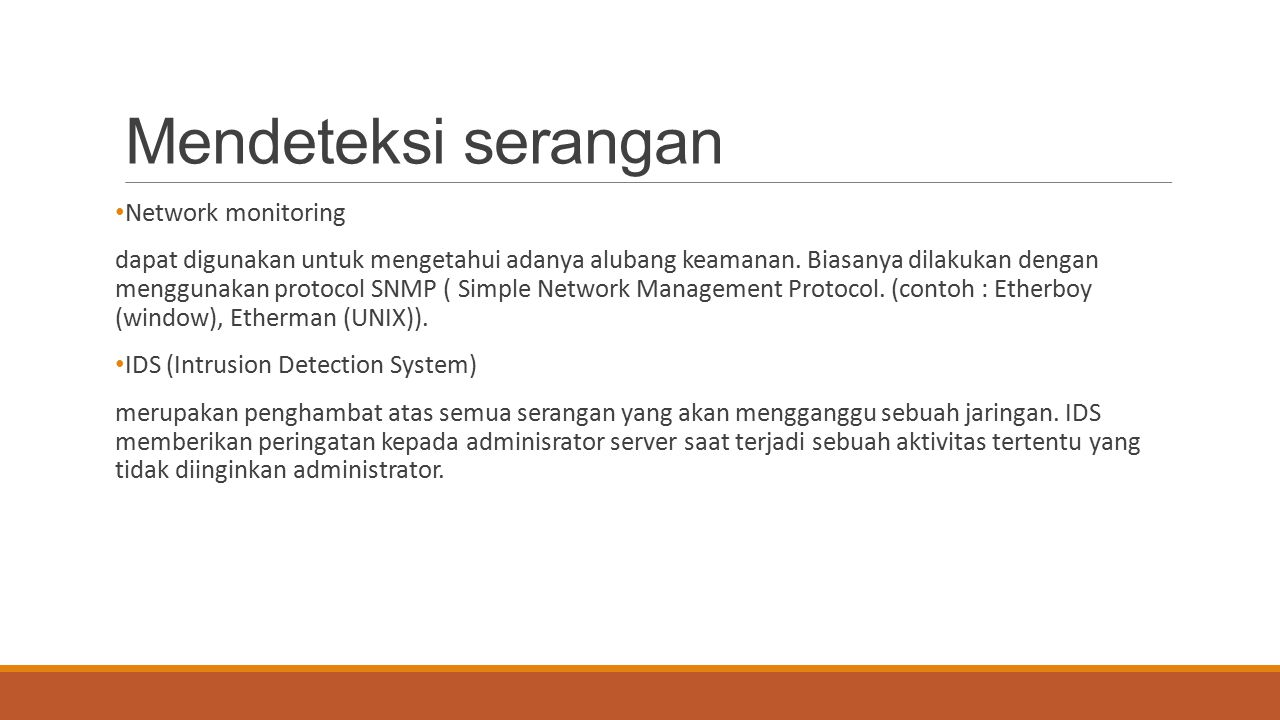 Mendeteksi serangan Network monitoring