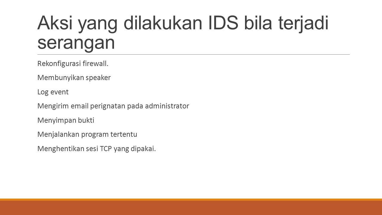 Aksi yang dilakukan IDS bila terjadi serangan