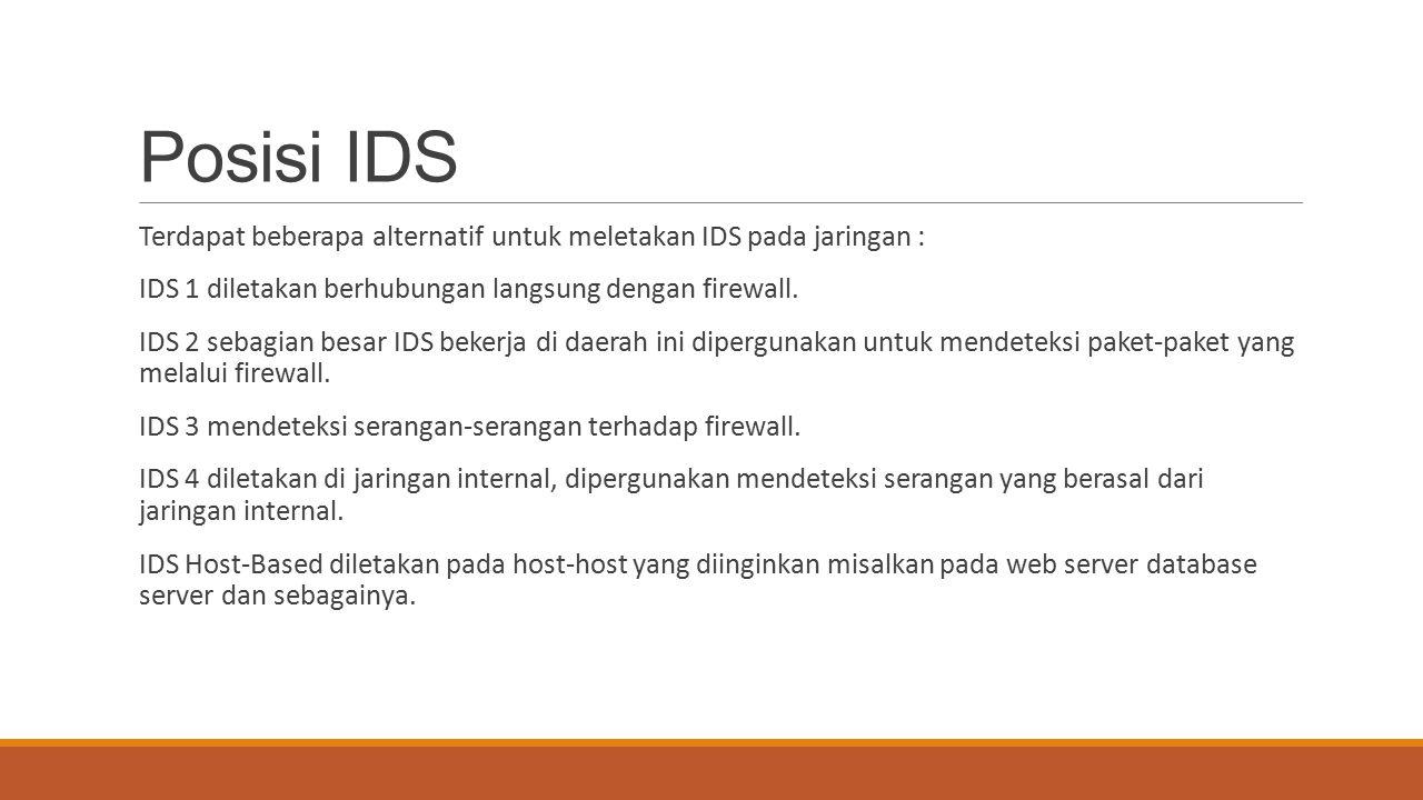 Posisi IDS Terdapat beberapa alternatif untuk meletakan IDS pada jaringan : IDS 1 diletakan berhubungan langsung dengan firewall.