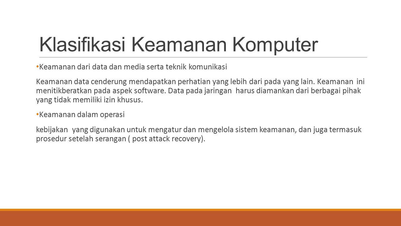 Klasifikasi Keamanan Komputer