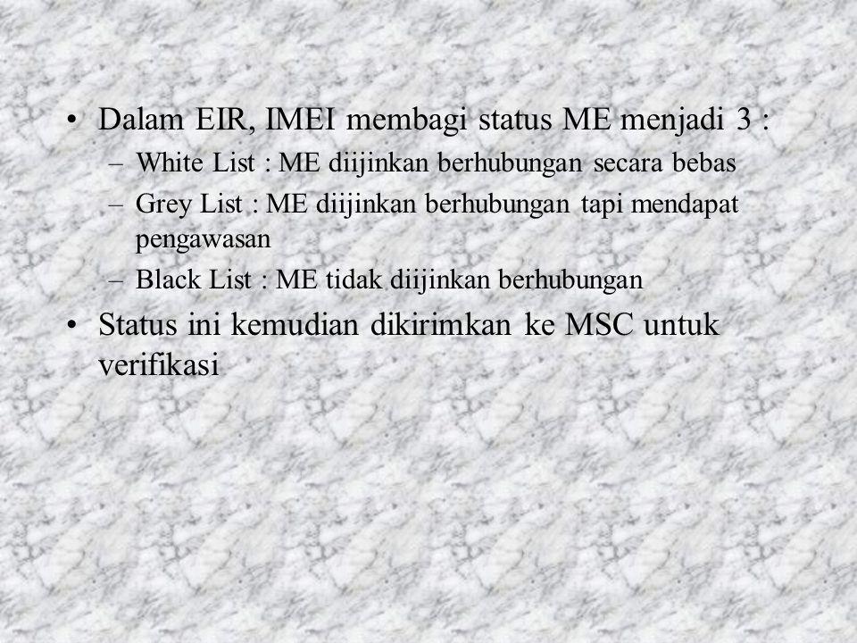 Dalam EIR, IMEI membagi status ME menjadi 3 :