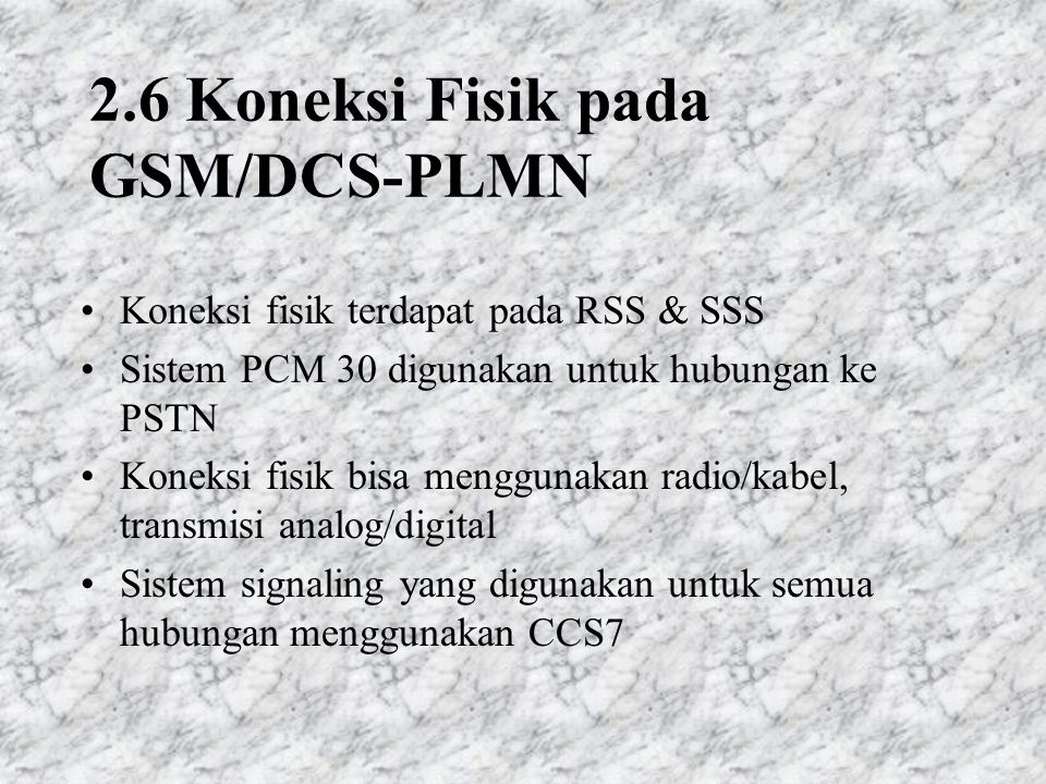 2.6 Koneksi Fisik pada GSM/DCS-PLMN