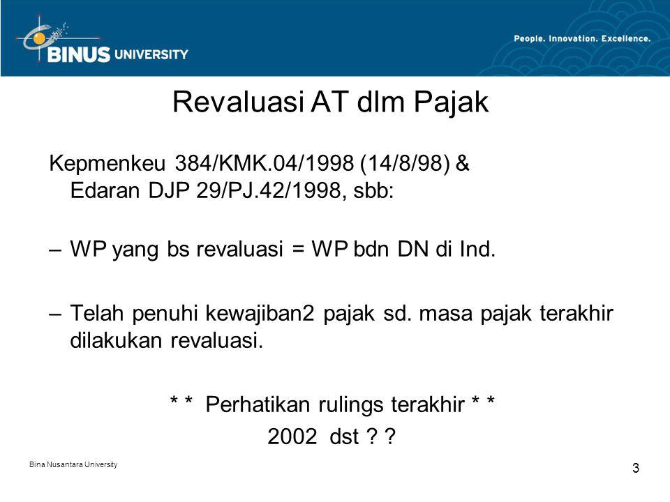 Revaluasi AT dlm Pajak Kepmenkeu 384/KMK.04/1998 (14/8/98) & Edaran DJP 29/PJ.42/1998, sbb: WP yang bs revaluasi = WP bdn DN di Ind.
