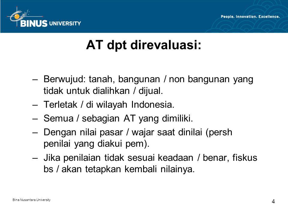 AT dpt direvaluasi: Berwujud: tanah, bangunan / non bangunan yang tidak untuk dialihkan / dijual. Terletak / di wilayah Indonesia.