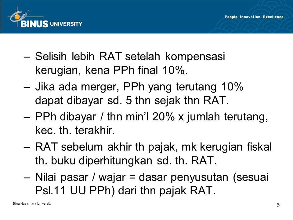 Selisih lebih RAT setelah kompensasi kerugian, kena PPh final 10%.