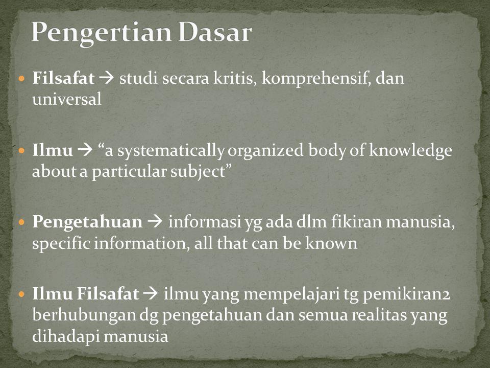 Pengertian Dasar Filsafat  studi secara kritis, komprehensif, dan universal.