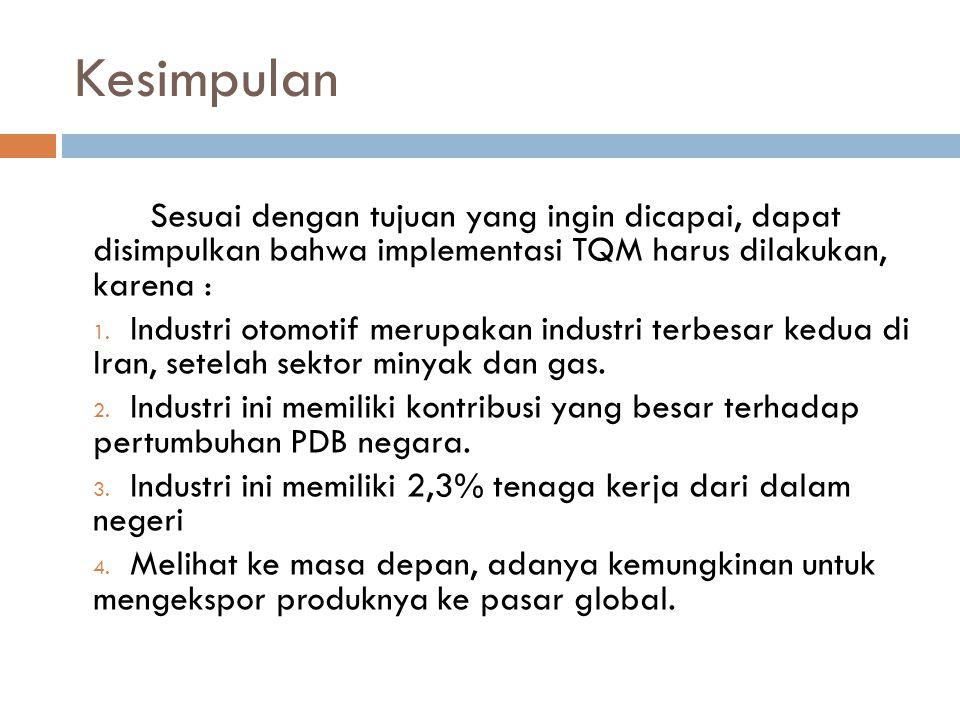 Kesimpulan Sesuai dengan tujuan yang ingin dicapai, dapat disimpulkan bahwa implementasi TQM harus dilakukan, karena :