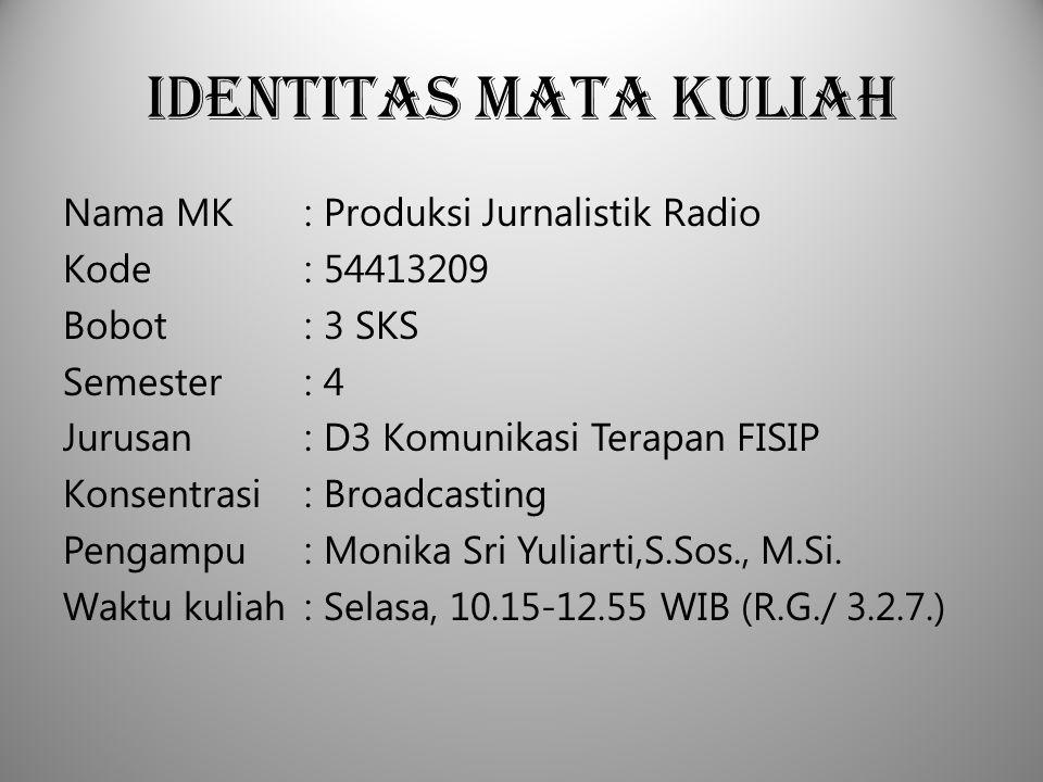 Identitas Mata Kuliah Nama MK : Produksi Jurnalistik Radio