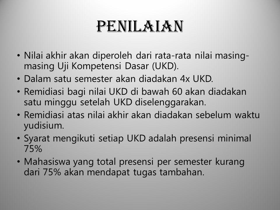 Penilaian Nilai akhir akan diperoleh dari rata-rata nilai masing-masing Uji Kompetensi Dasar (UKD).