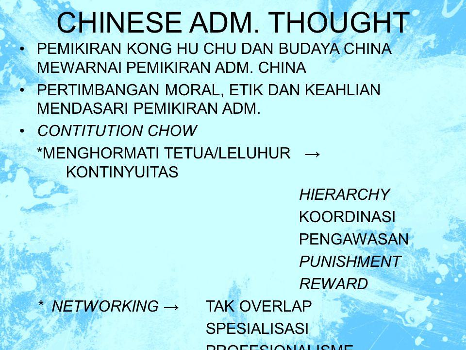 CHINESE ADM. THOUGHT PEMIKIRAN KONG HU CHU DAN BUDAYA CHINA MEWARNAI PEMIKIRAN ADM. CHINA.