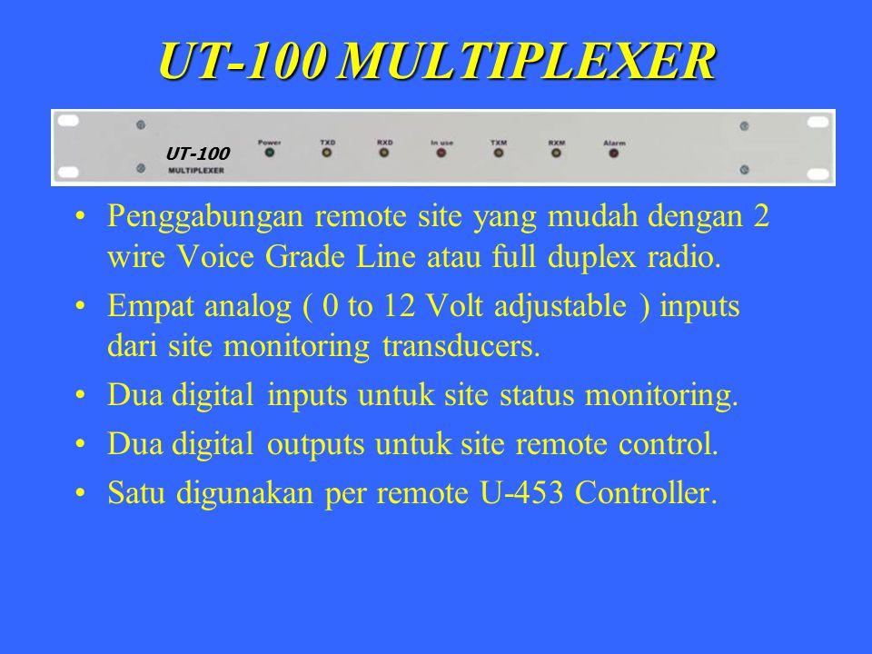 UT-100 MULTIPLEXER UT-100. Penggabungan remote site yang mudah dengan 2 wire Voice Grade Line atau full duplex radio.