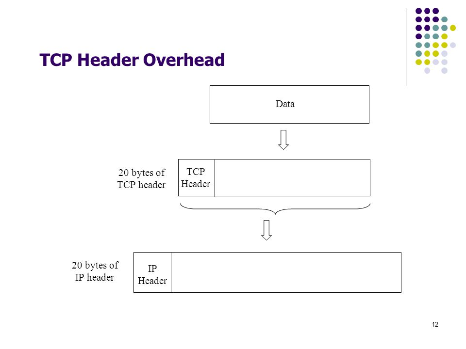 TCP Header Overhead Data 20 bytes of TCP header TCP Header
