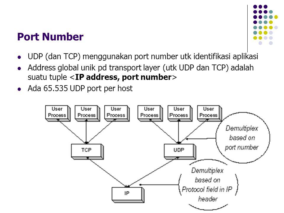 Port Number UDP (dan TCP) menggunakan port number utk identifikasi aplikasi.