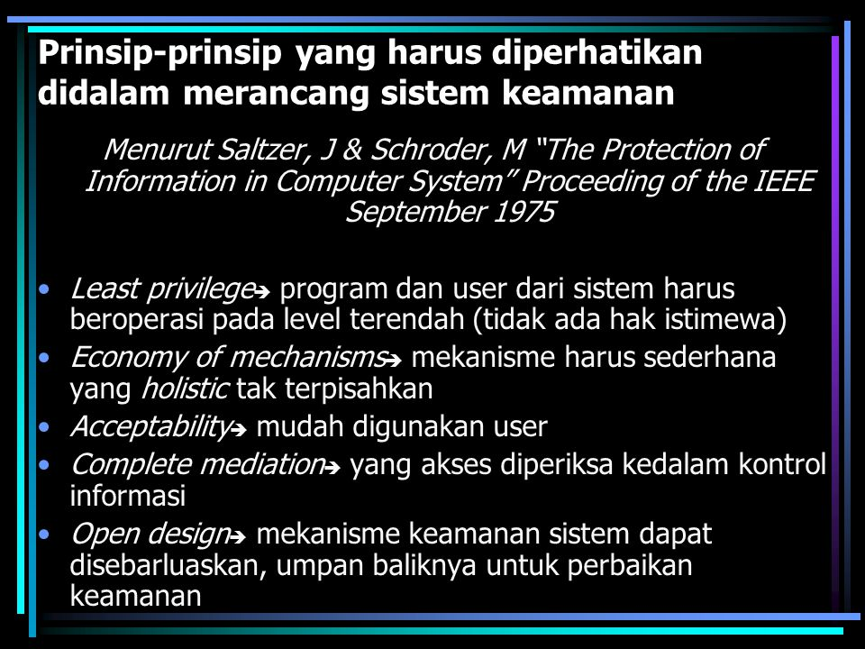 Prinsip-prinsip yang harus diperhatikan didalam merancang sistem keamanan