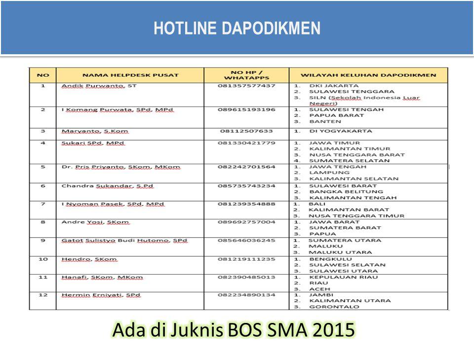 HOTLINE DAPODIKMEN Ada di Juknis BOS SMA 2015