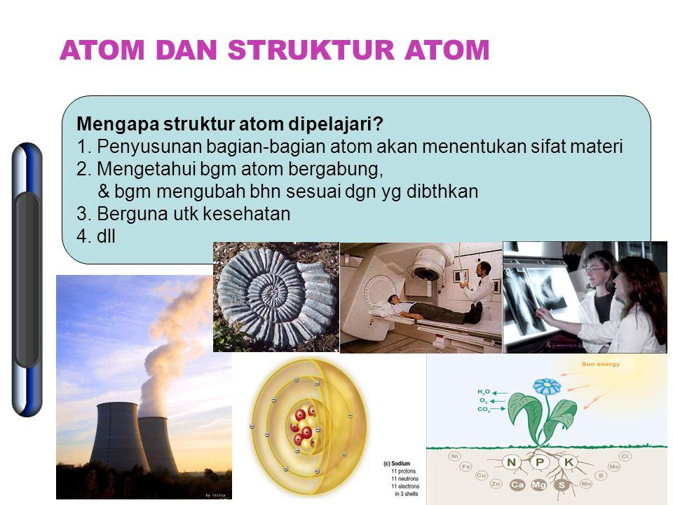 ATOM DAN STRUKTUR ATOM Mengapa struktur atom dipelajari