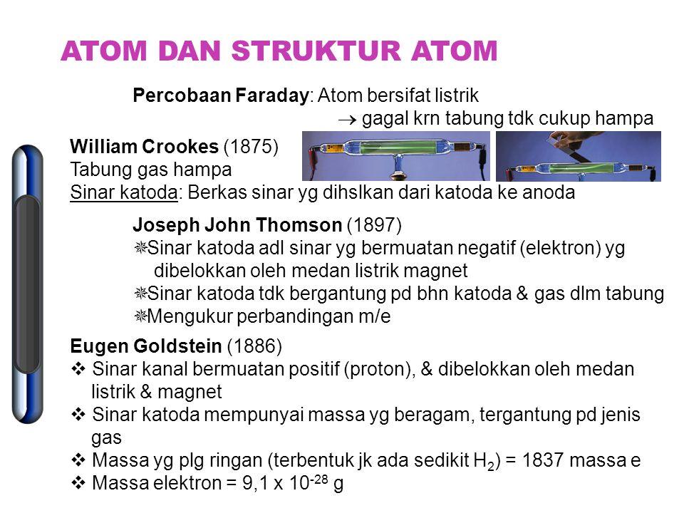 ATOM DAN STRUKTUR ATOM Percobaan Faraday: Atom bersifat listrik