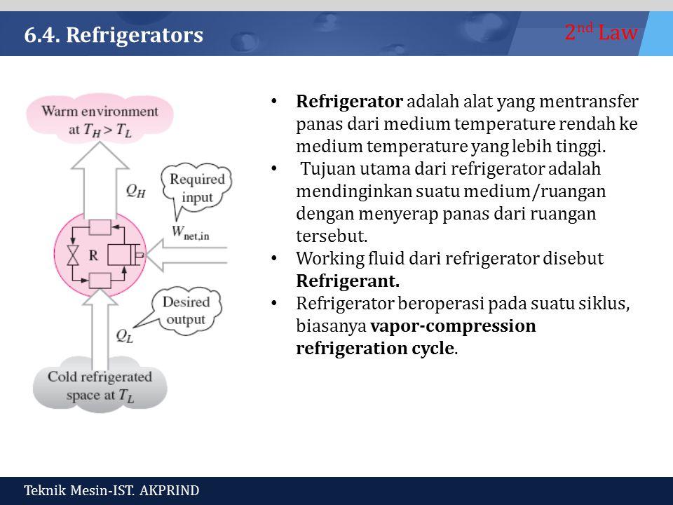 6.4. Refrigerators Refrigerator adalah alat yang mentransfer panas dari medium temperature rendah ke medium temperature yang lebih tinggi.