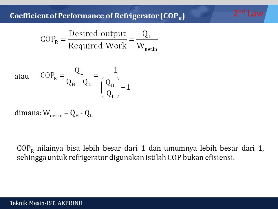 Coefficient of Performance of Refrigerator (COPR)