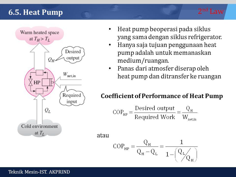 6.5. Heat Pump Heat pump beoperasi pada siklus yang sama dengan siklus refrigerator.