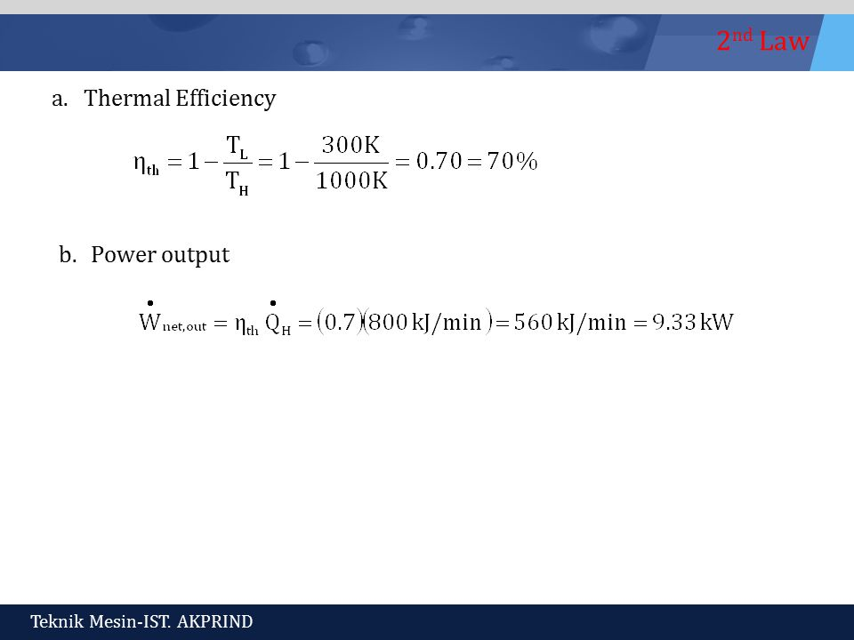 Thermal Efficiency Power output