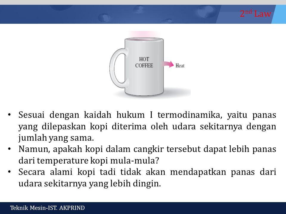 Sesuai dengan kaidah hukum I termodinamika, yaitu panas yang dilepaskan kopi diterima oleh udara sekitarnya dengan jumlah yang sama.