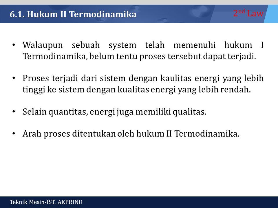 6.1. Hukum II Termodinamika