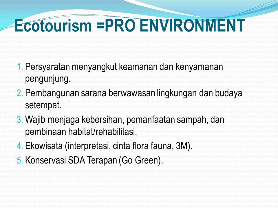 Ecotourism =PRO ENVIRONMENT