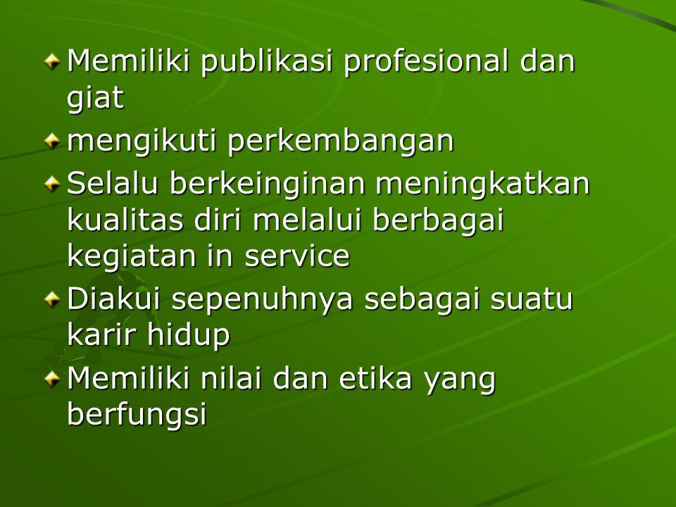 Memiliki publikasi profesional dan giat