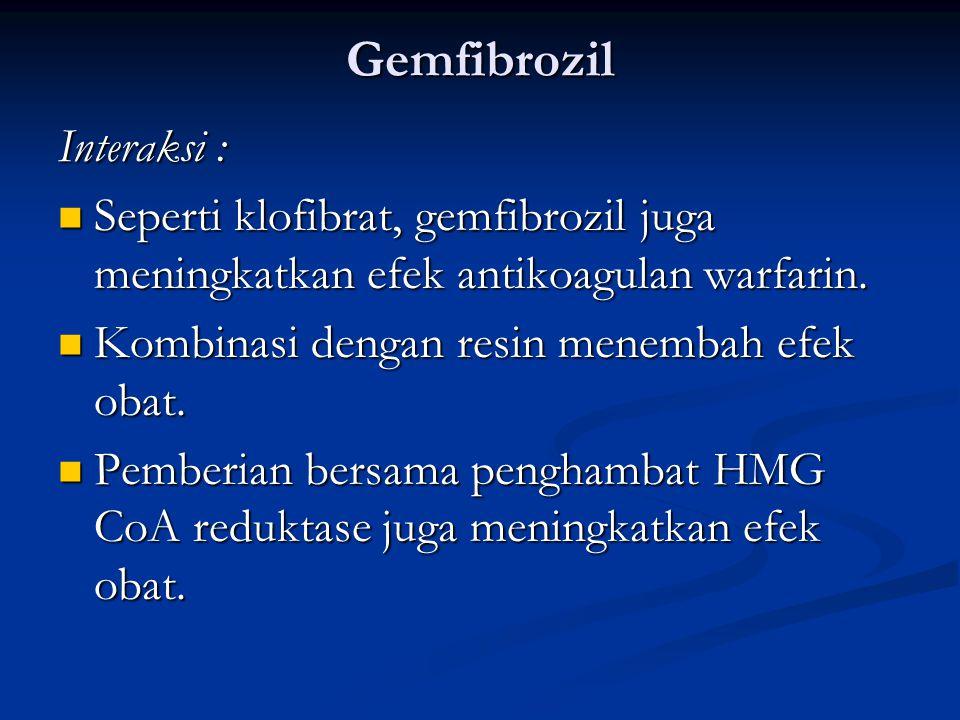 Gemfibrozil Interaksi :