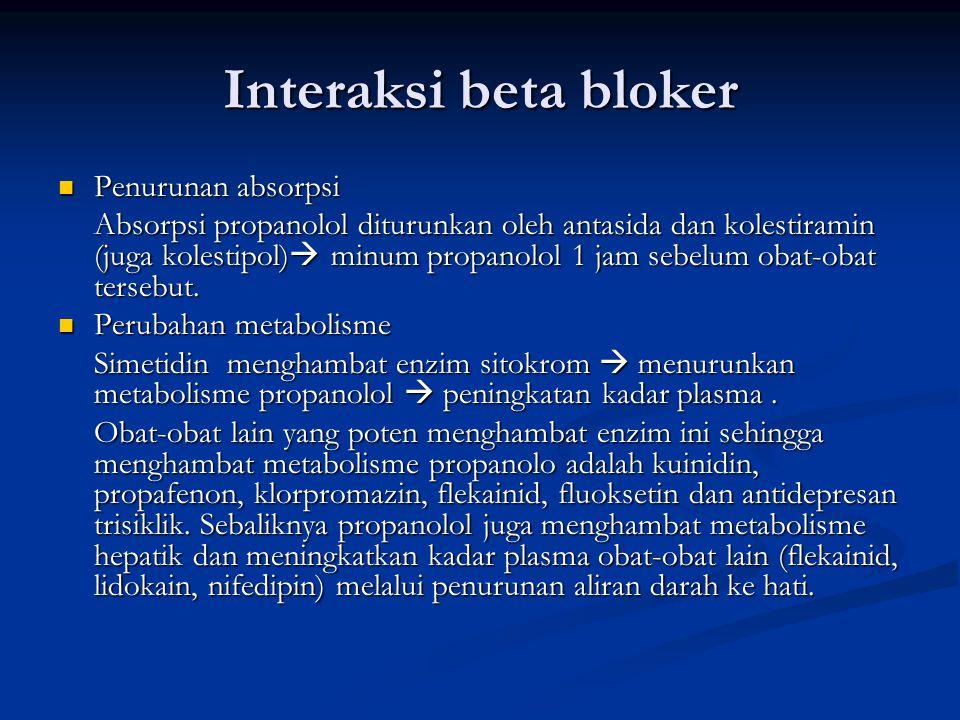 Interaksi beta bloker Penurunan absorpsi