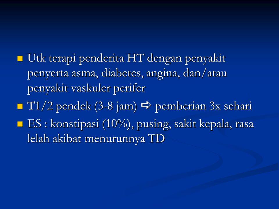 Utk terapi penderita HT dengan penyakit penyerta asma, diabetes, angina, dan/atau penyakit vaskuler perifer