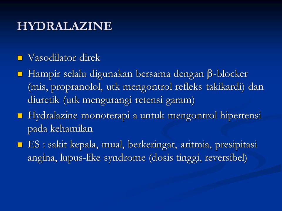 HYDRALAZINE Vasodilator direk