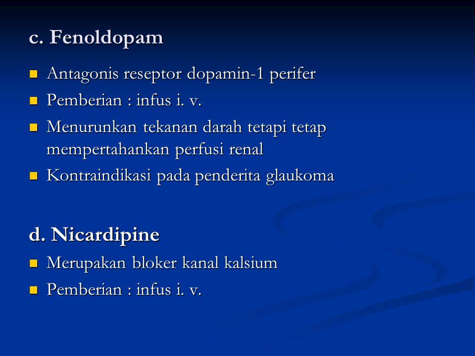 c. Fenoldopam d. Nicardipine Antagonis reseptor dopamin-1 perifer