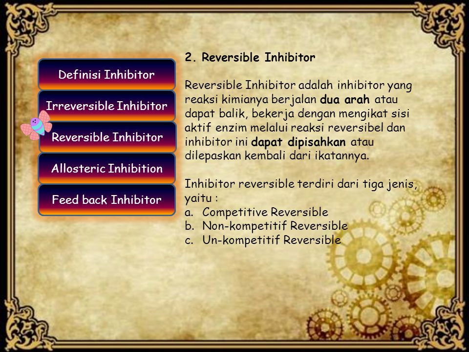 Inhibitor reversible terdiri dari tiga jenis, yaitu :