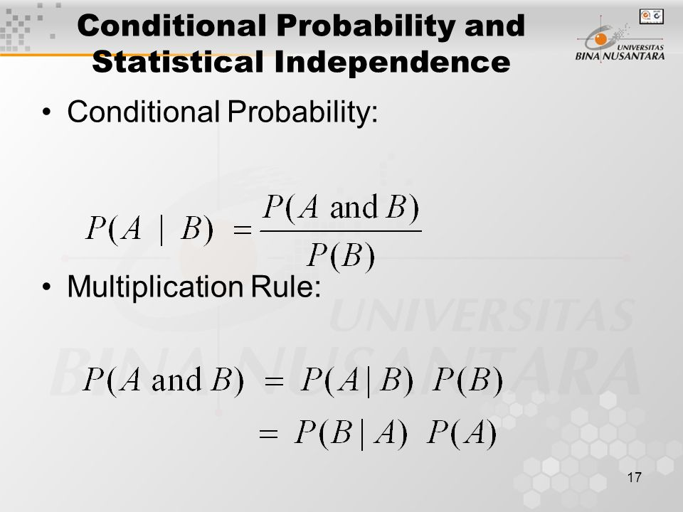 Conditional Probability and Statistical Independence