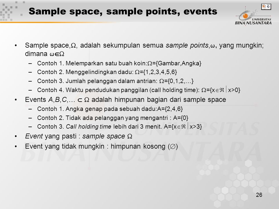 Sample space, sample points, events