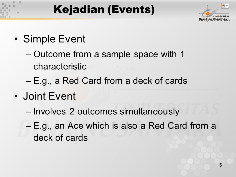Kejadian (Events) Simple Event Joint Event