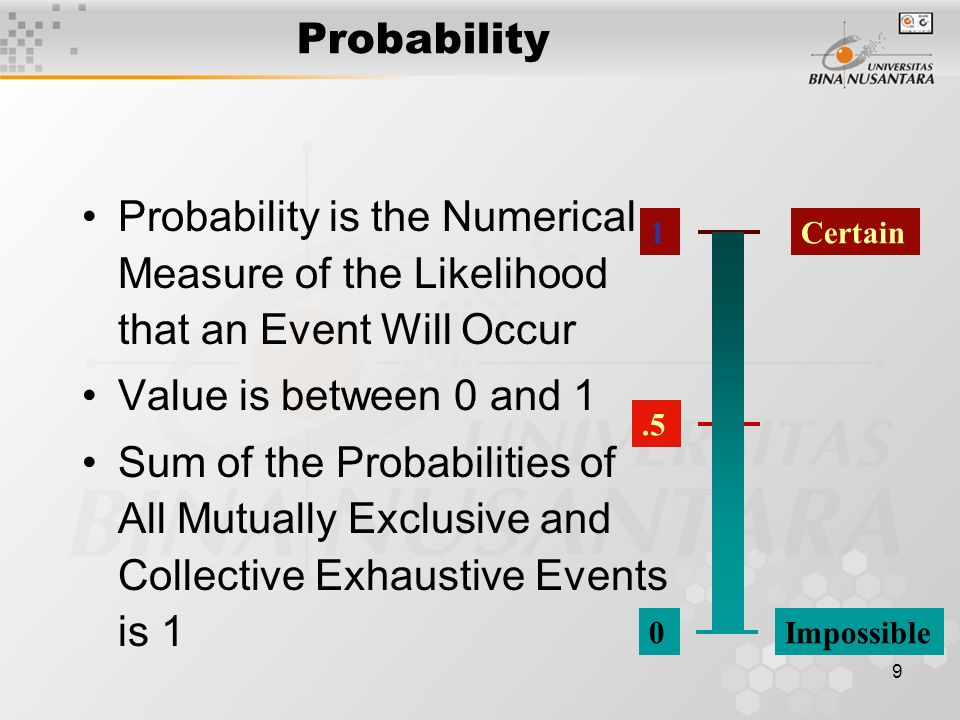 Probability Probability is the Numerical Measure of the Likelihood that an Event Will Occur. Value is between 0 and 1.