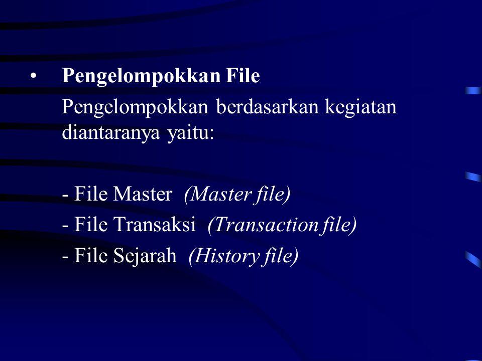 Pengelompokkan File Pengelompokkan berdasarkan kegiatan diantaranya yaitu: - File Master (Master file)