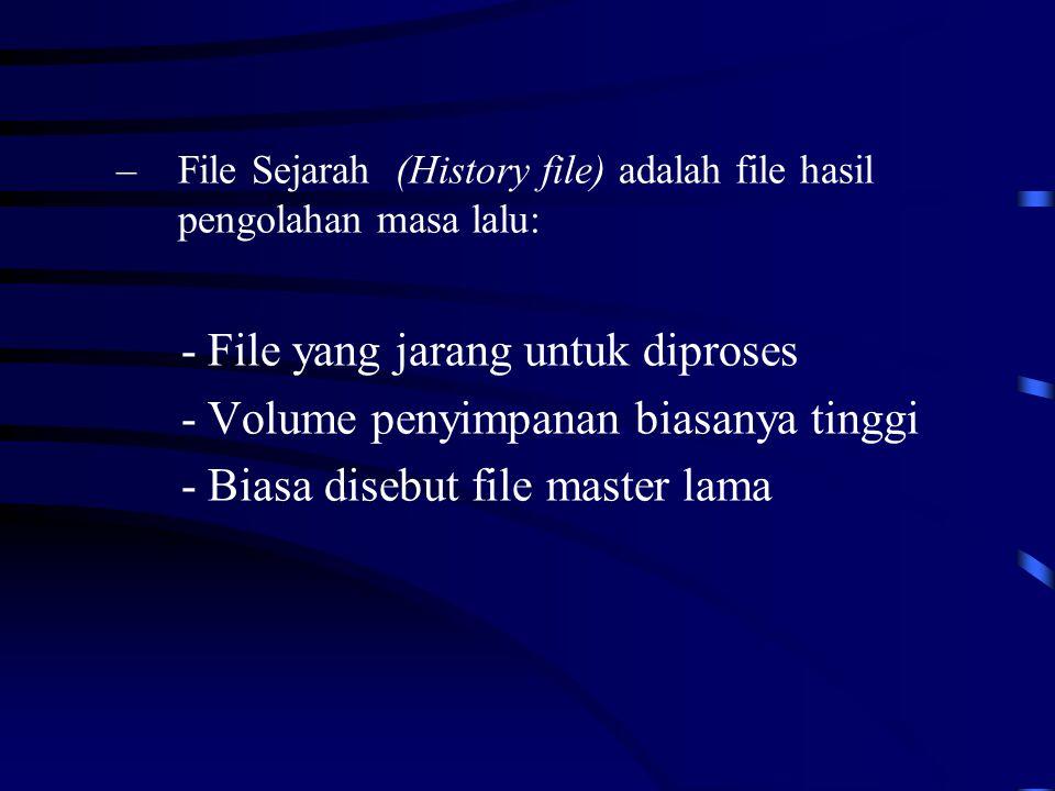 - File yang jarang untuk diproses - Volume penyimpanan biasanya tinggi