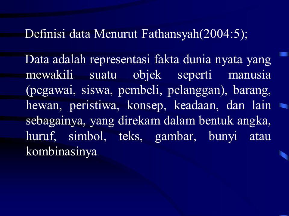 Definisi data Menurut Fathansyah(2004:5);