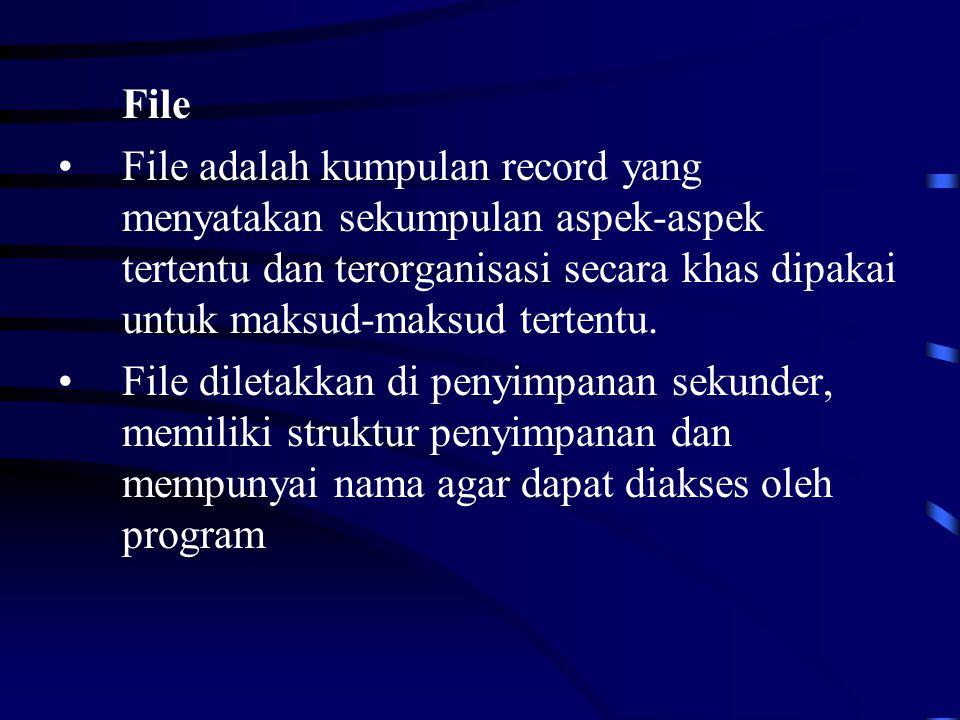 File File adalah kumpulan record yang menyatakan sekumpulan aspek-aspek tertentu dan terorganisasi secara khas dipakai untuk maksud-maksud tertentu.